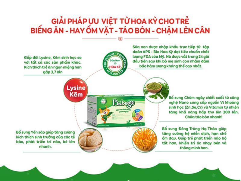 Thành phần của sữa thảo dược Babego